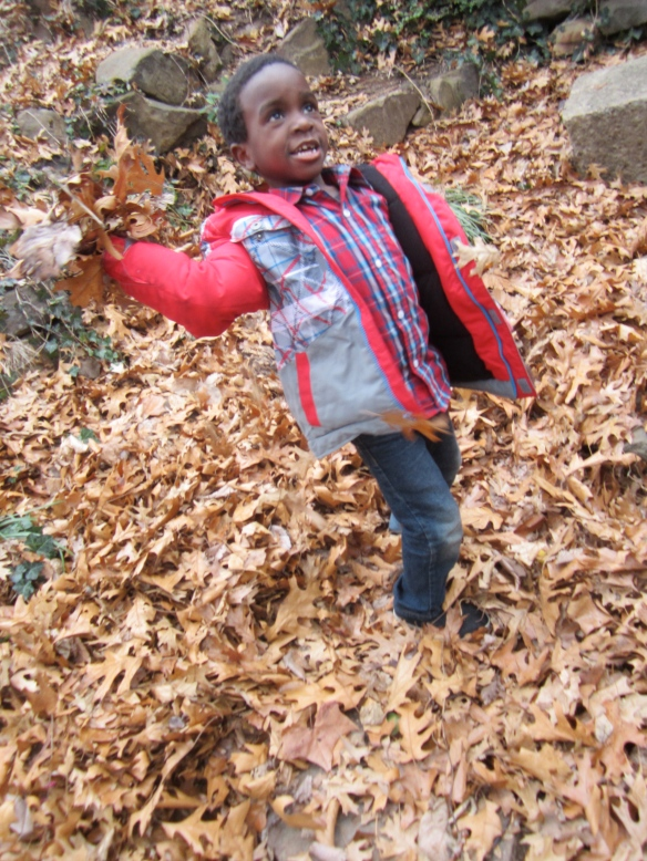 throwing leaves at Daddy...